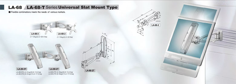 Universal slat mount monitor arms