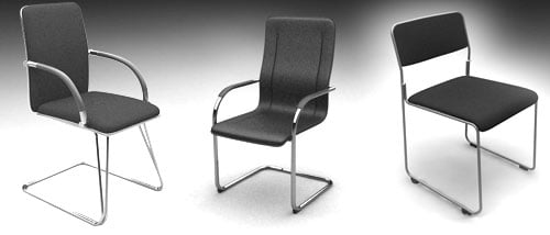 3 standard office chairs